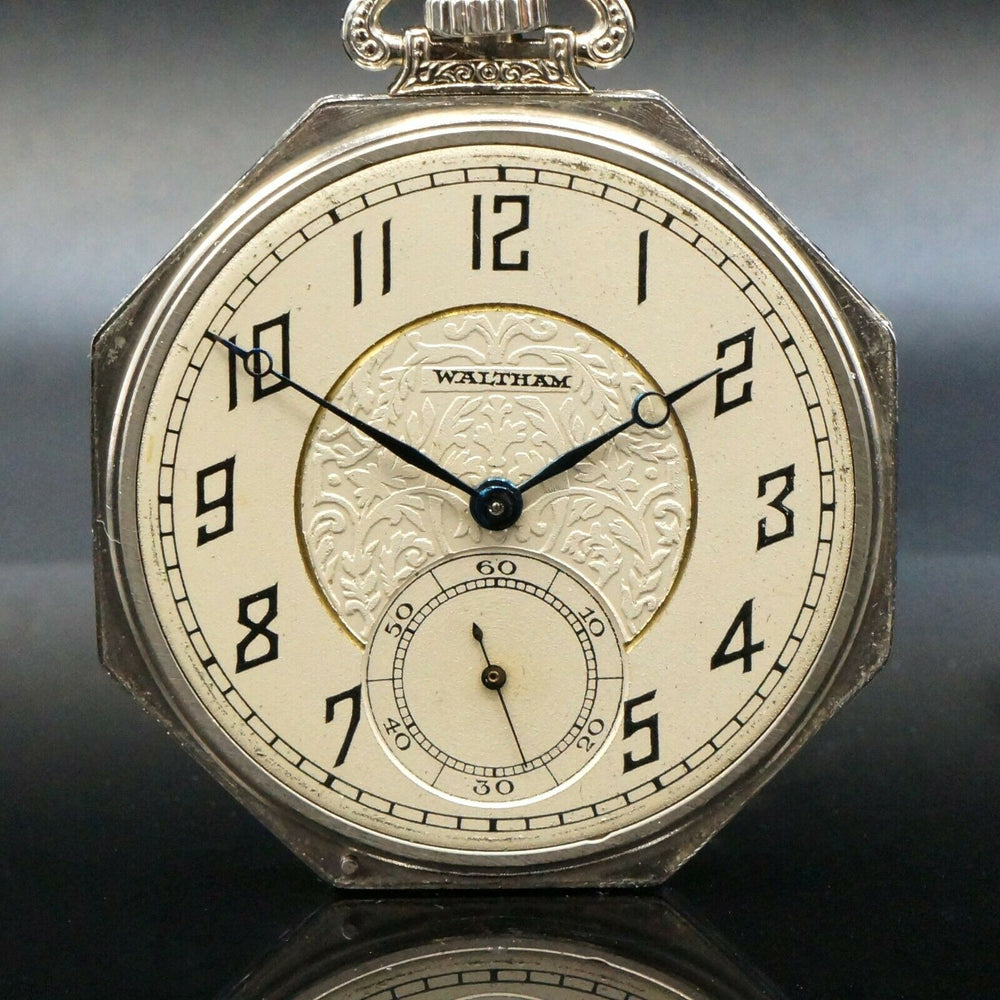 Waltham Pocket Watch 1925 14K White Gold Art Dec