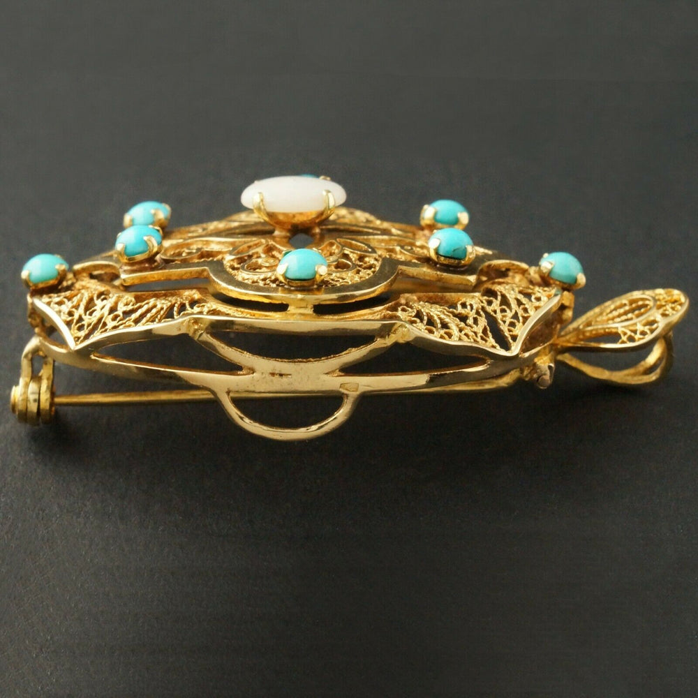 1930's Solid 14K Yellow Gold, Turquoise & Opal Filigree Pendant, Pin, Brooch