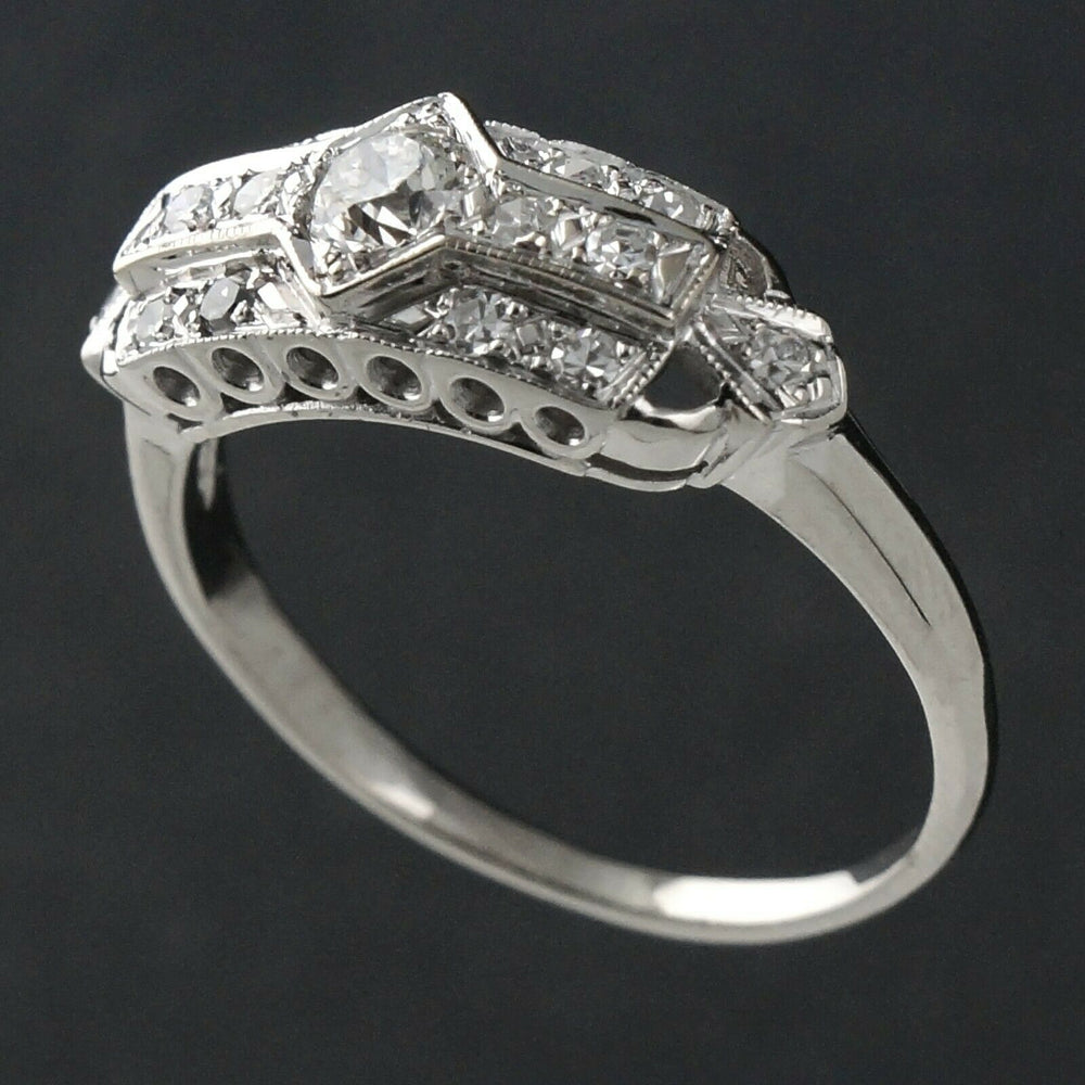 1940s Art Deco Solid 14K & .43 CTW OEC Diamond Wedding Ring, Anniversary Band