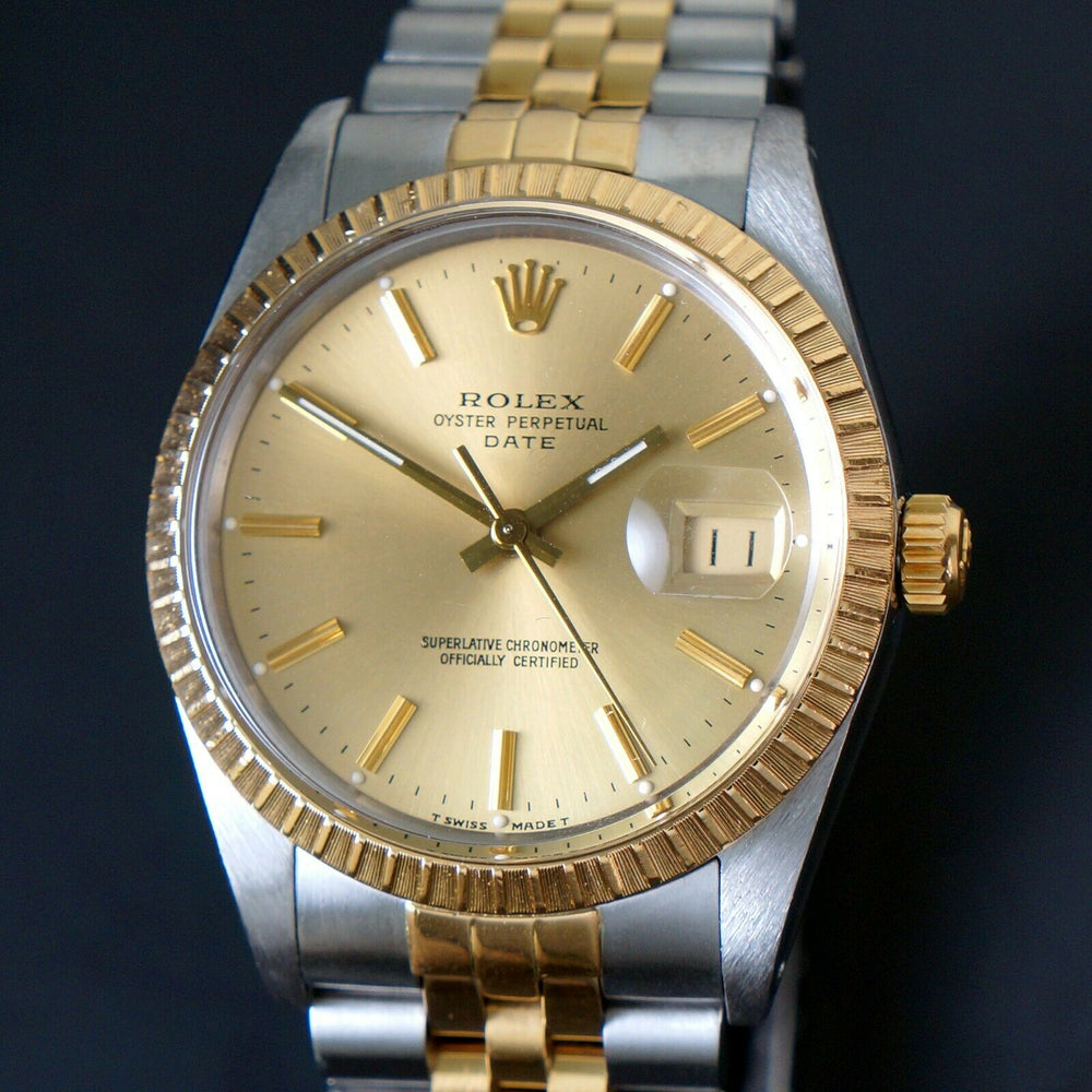 1987 Rolex Date Two Tone Gold & Stainless Steel 34mm Watch Jubilee Bracelet Olde Towne Jewelers CA