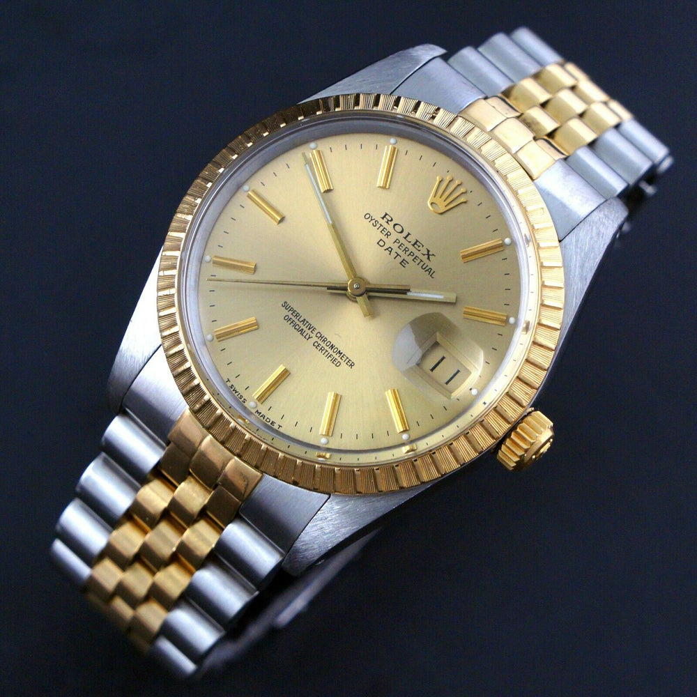 1987 Rolex Date Two Tone Gold & Stainless Steel 34mm Watch Jubilee Bracelet Olde Towne Jewelers Santa Rosa