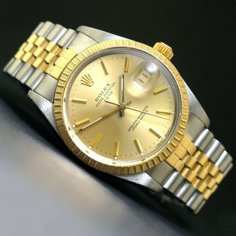 1987 Rolex Date Two Tone Gold & Stainless Steel 34mm Watch Jubilee Bracelet