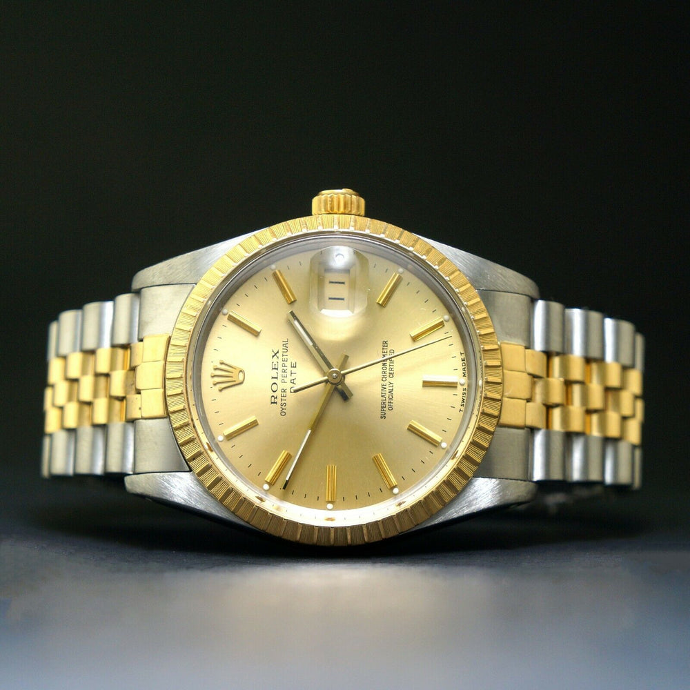 1987 Rolex Date Two Tone Gold & Stainless Steel 34mm Watch Jubilee Bracelet Olde Towne Jewelers Santa Rosa CA Case back