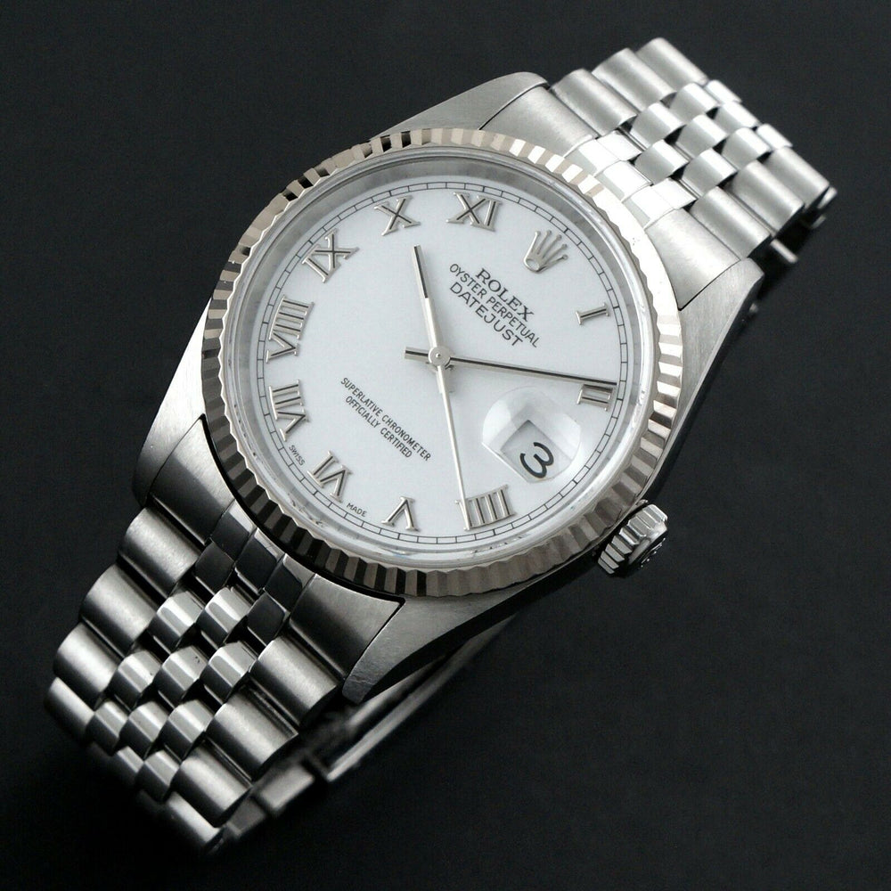 2002 Rolex 16234 Datejust 36mm Stainless Steel 18K White Gold Bezel No Holes Watch Olde Towne Jewelers Santa Rosa CA 13