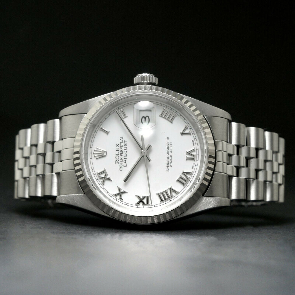 2002 Rolex 16234 Datejust 36mm Stainless Steel 18K White Gold Bezel No Holes Watch Olde Towne Jewelers Santa Rosa CA 3