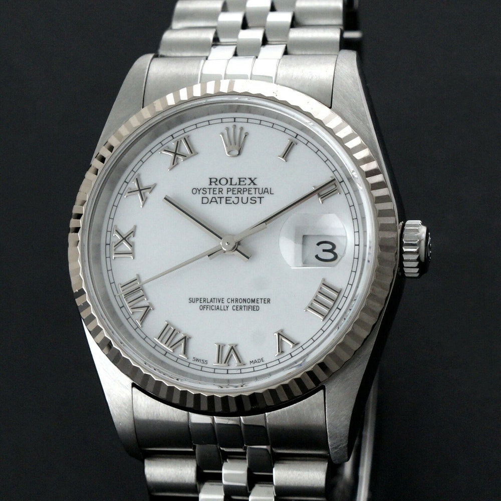 2002 Rolex 16234 Datejust 36mm Stainless Steel 18K White Gold Bezel No Holes Watch