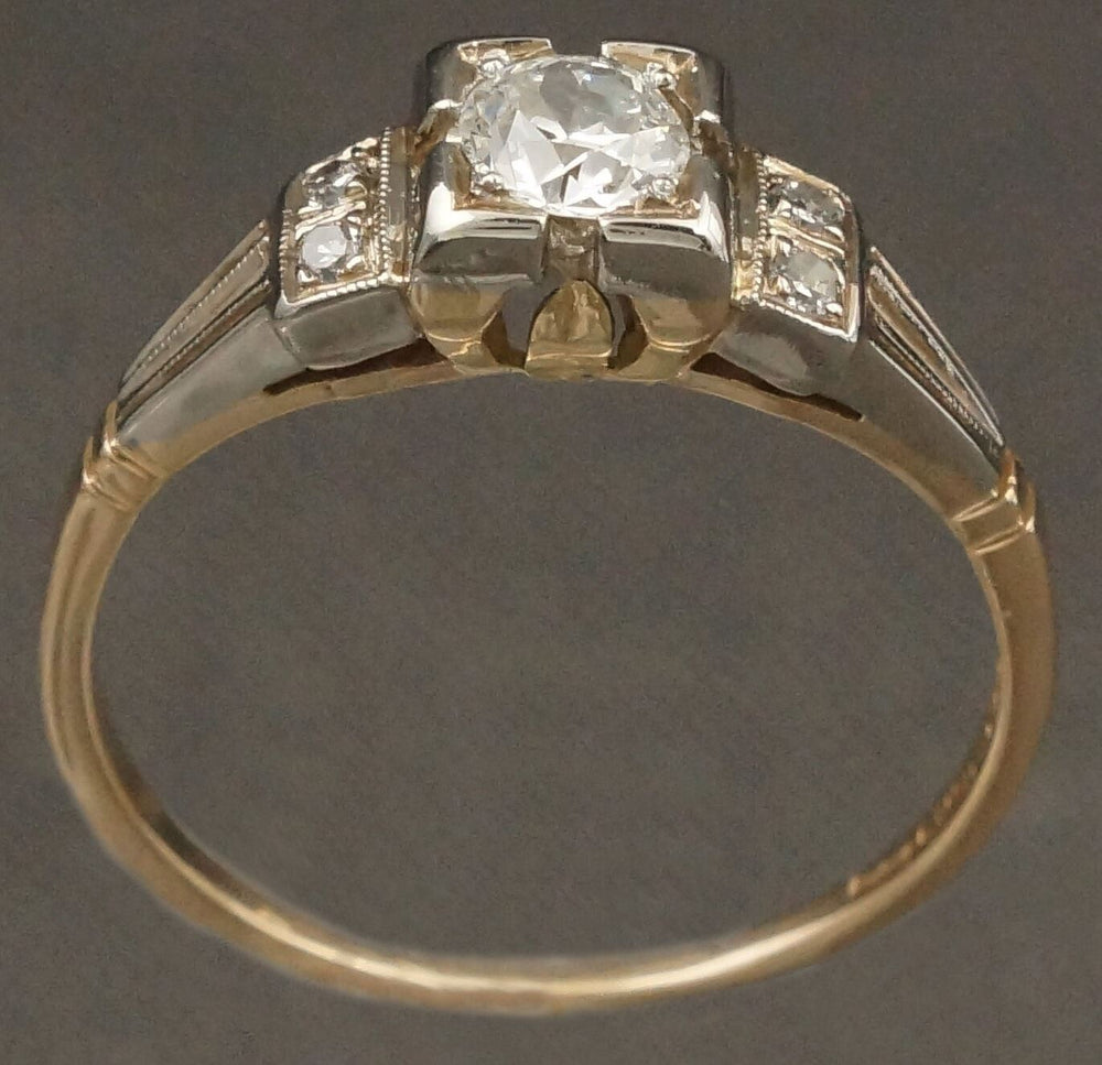 Elegant Retro Deco 2-Tone Solid 14K Gold & .27 CTW Diamond Engagement Ring