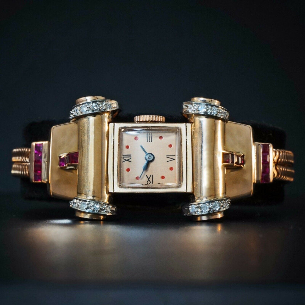 Stunning Lonville Solid 14K Rose Gold Diamond & Ruby Retro 1940s Bracelet Watch