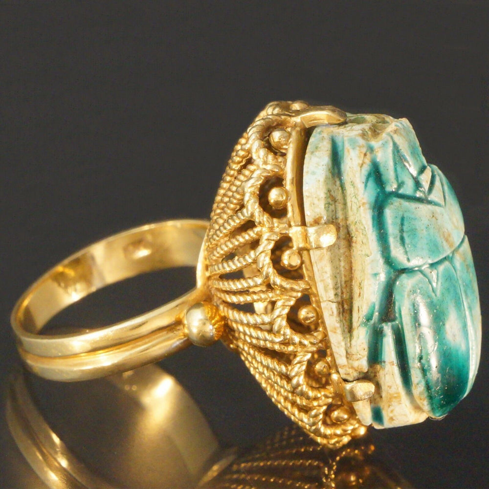 Bold Solid Yellow Gold & Large Glazed Faience Egyptian Scarab Beetle Estate Ring