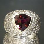Solid 14K White Gold, 4.75ct Triangle Cut Tourmaline & Champagne Diamond Ring