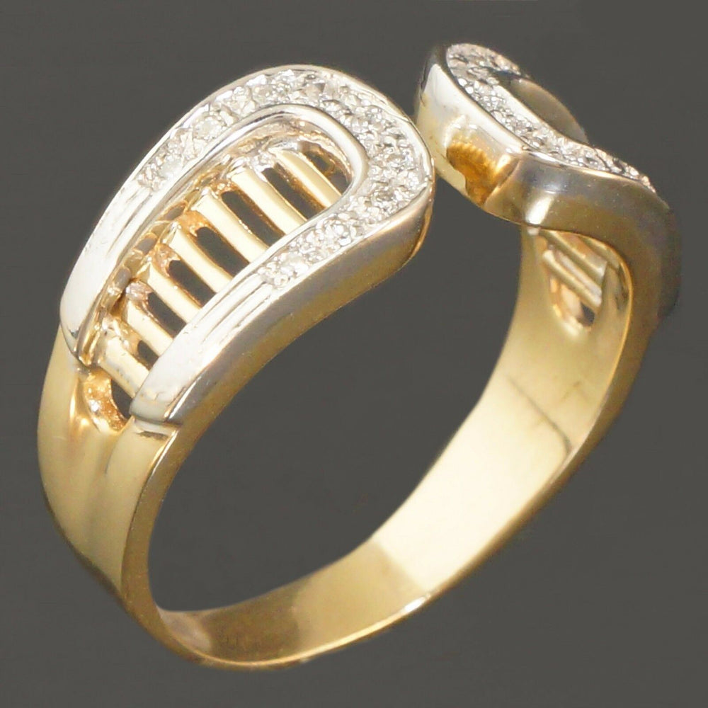 Solid 14K White & Yellow Gold, Pave Diamond Filigree Cigar Band, Estate Ring