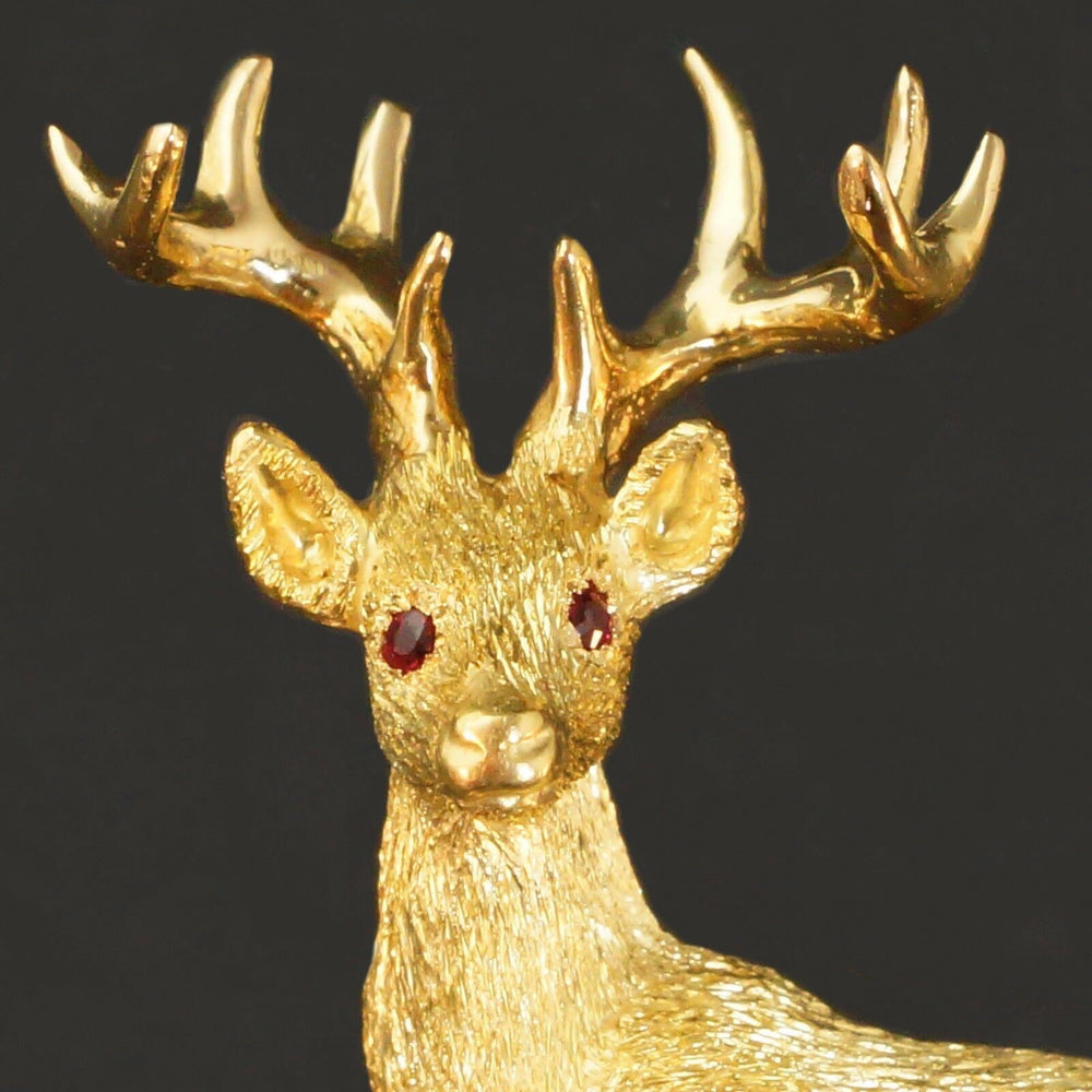 George Lederman Solid 18K Yellow Gold, Ruby, Deer, Elk, Buck Estate Pin, Brooch