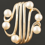 Beautiful, Retro, Solid 14K Yellow Gold & Akoya Pearl, Estate Pin, Brooch
