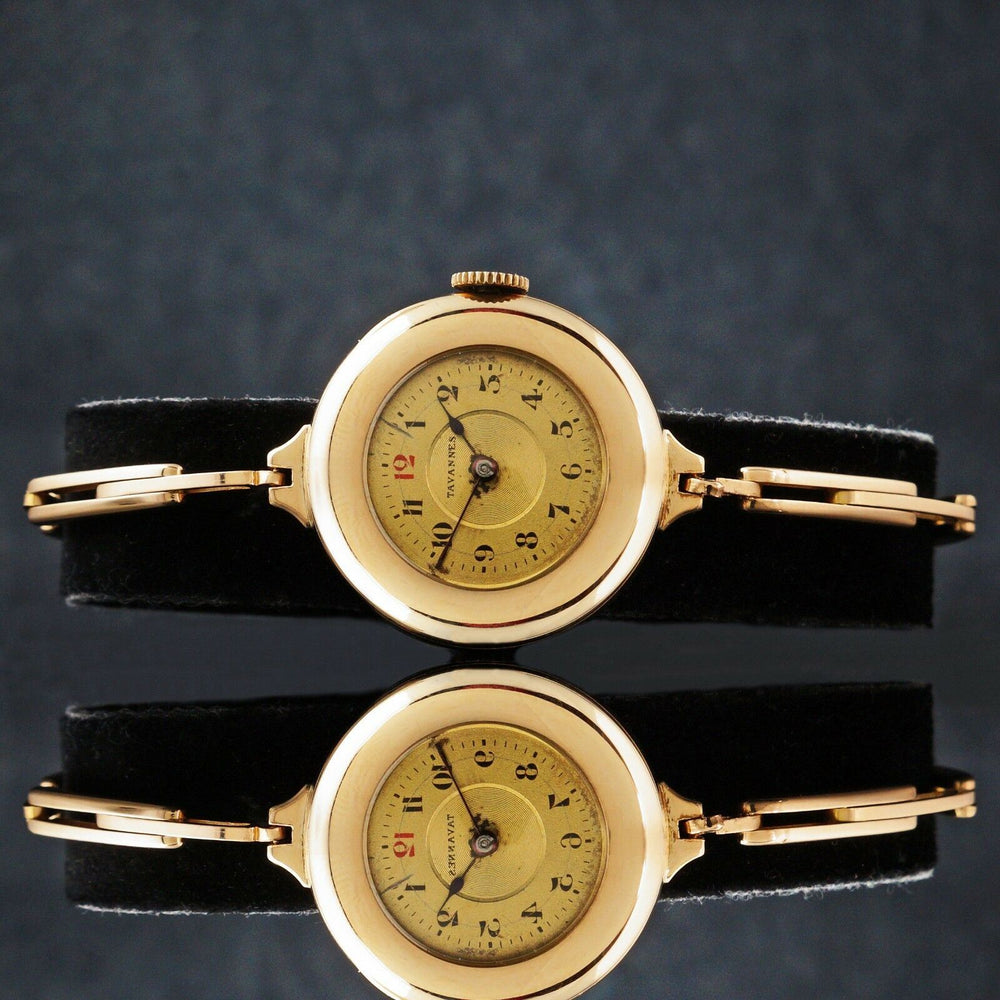 Rare 1920s Tavannes Solid 14K Yellow Gold Lady's Bracelet Wristwatch