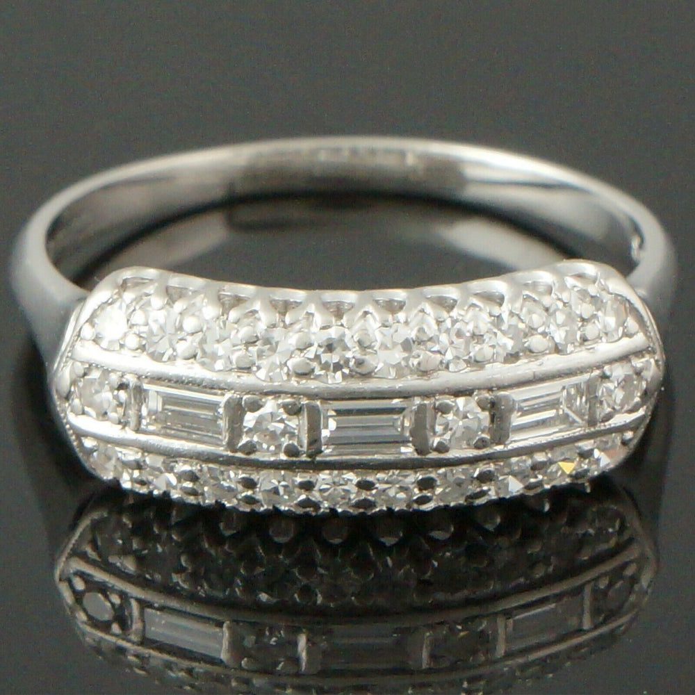 Rare 1940's Art Deco Platinum & .37 CTW Diamond Engagement, Wedding Band Ring
