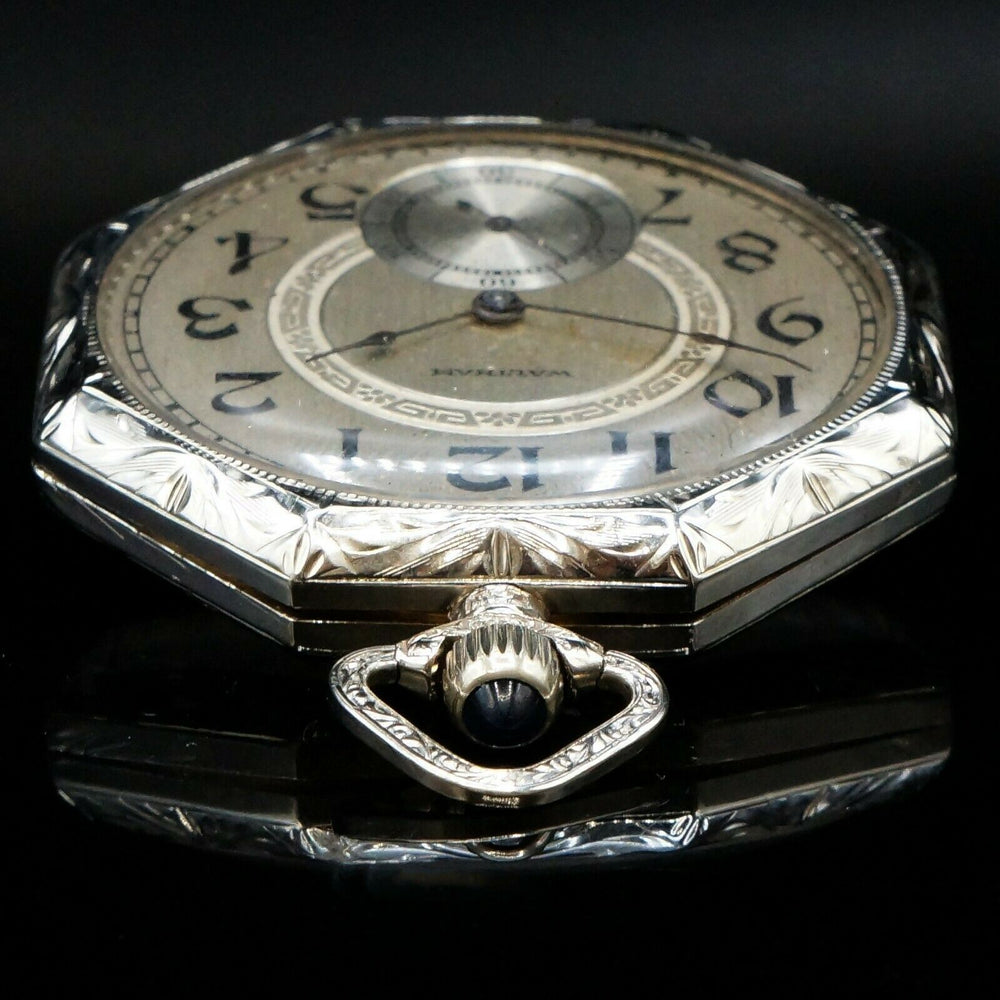 Rare 1926 Waltham 12s Solid 14K White Gold Art Deco Engraved Pocket Watch