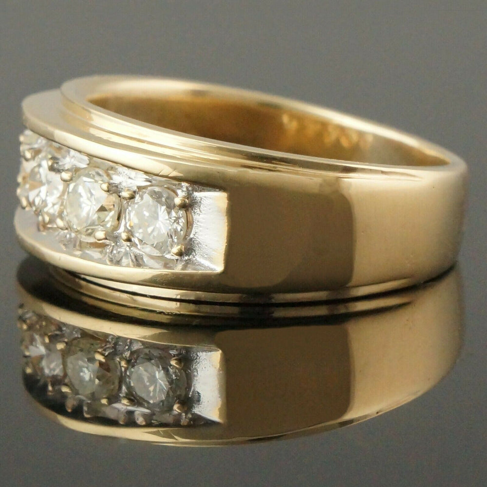 Solid 14K Yellow Gold & .75 Cttw Diamond Wedding Anniversary Band Estate Ring
