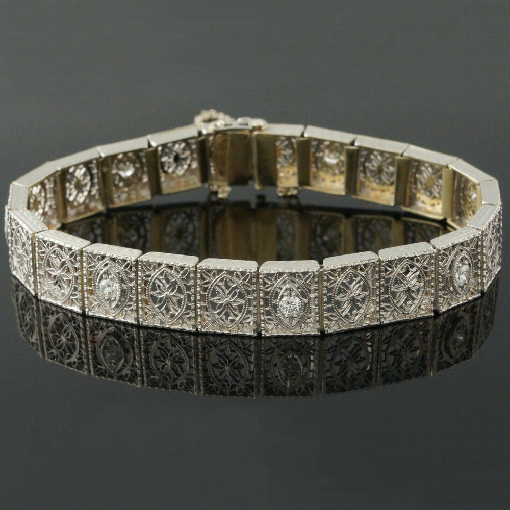 1920s Art Deco Solid 14K White Gold & .56 CTW Diamond Filigree Bracelet