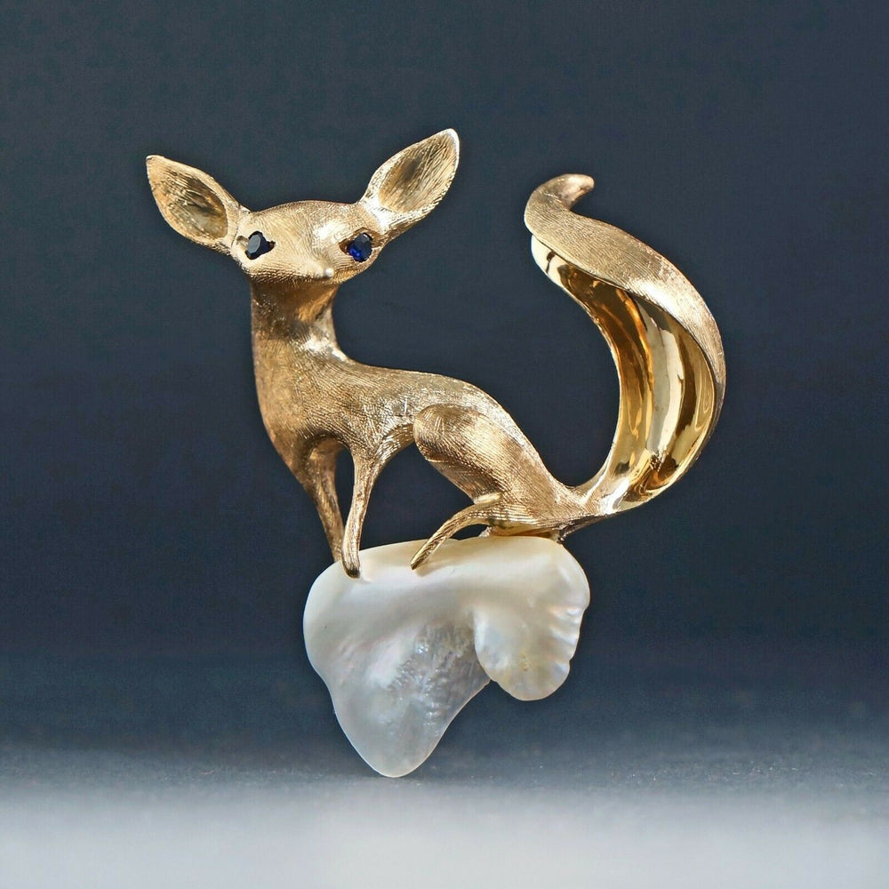Rare Solid 14K Yellow Gold, Sapphire & Freshwater Pearl Fox Pin, Estate Brooch