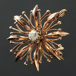 Retro Solid 14K Rose Gold & .40 Ct OMC Diamond Burst Estate Brooch, Pendant