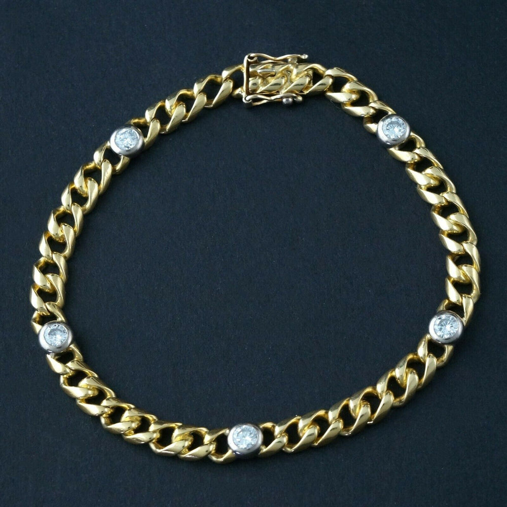 "Wempe Solid 18K Yellow Gold & .80 CTW Diamond Estate 6.75"" Curb Link Bracelet"