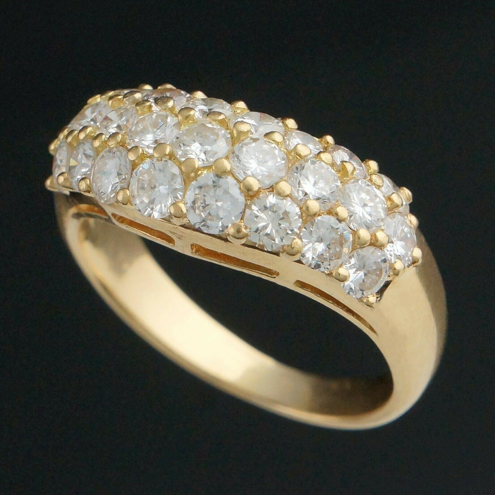 Retro Solid 18K Gold & 2.25 CTW Diamond Estate Wedding Ring, Anniversary Band