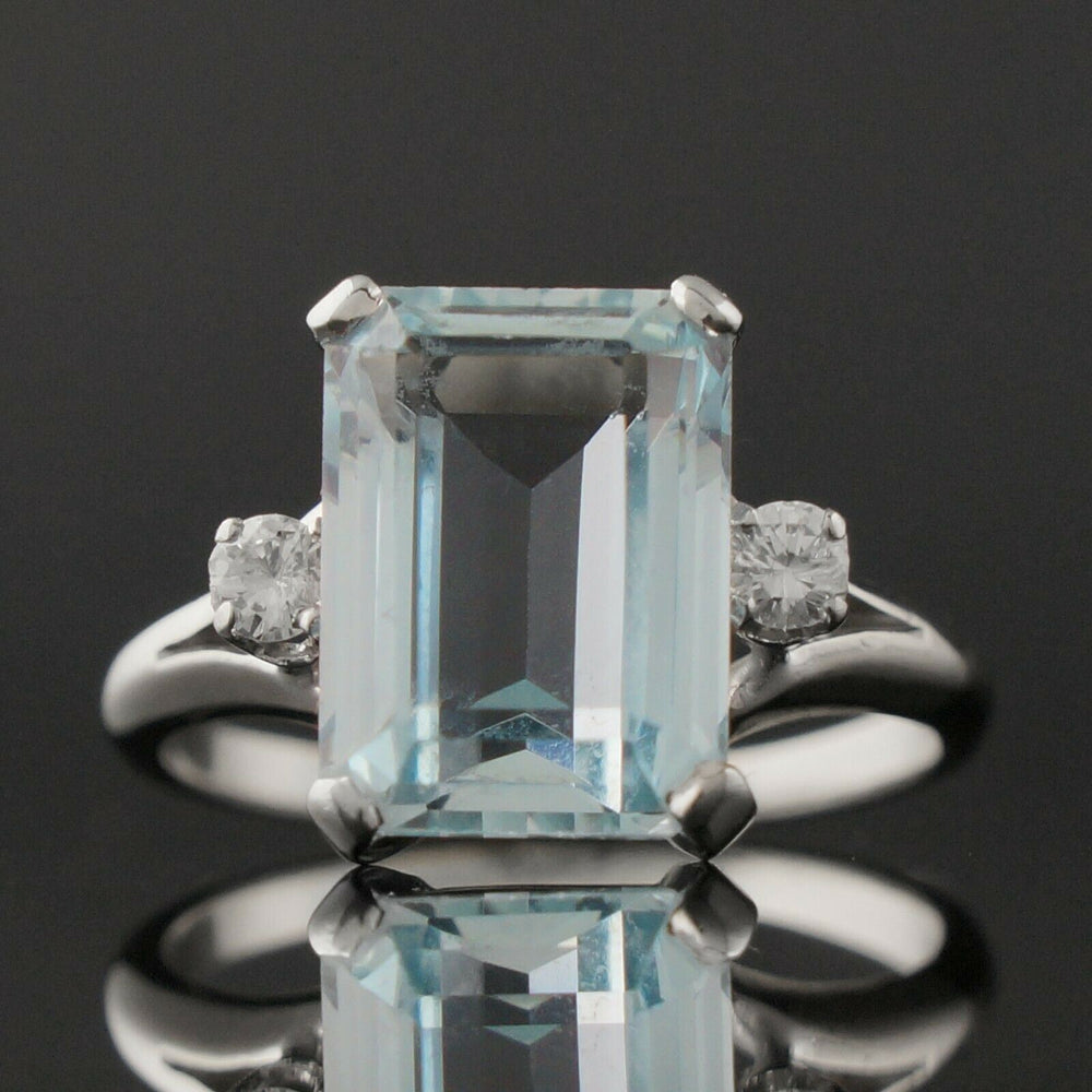 Solid 14K White Gold, 8.0 Ct Aquamarine & Diamond Accent Estate Cocktail Ring