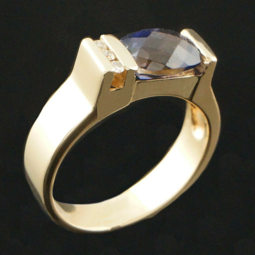 Solid 14K Yellow Gold, 1.22 Ct Sapphire & Channel Diamond Accent Estate Ring
