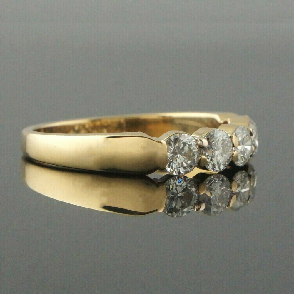 Solid 18K Yellow Gold & 1.0 CTW Diamond Wedding Band, Estate Anniversary Ring