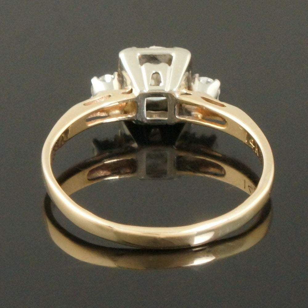 Solid 14K Gold & 1.20 CTW 3 Stone Diamond Wedding Band, Anniversary Ring