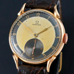 1940s Omega 14K Rose Gold Horn Lug Man's Watch 2 Tone Dial, 35mm