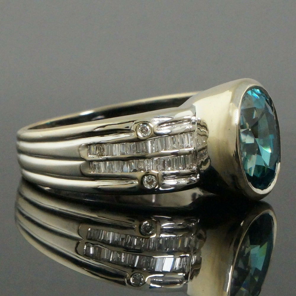 Solid 18K White Gold, 2.85 Ct Blue Tourmaline & .60 CTW Diamond Cigar Band, Ring