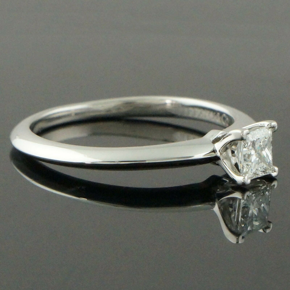 Tiffany & Co. Platinum & .31 Ct Princess E/F Diamond Solitaire Engagement Ring