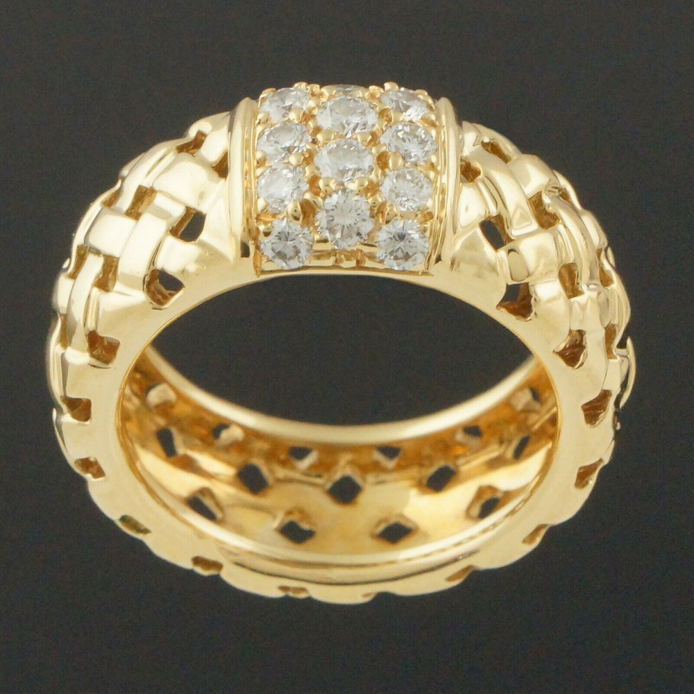 Tiffany & Co. Vannerie Collection Solid 18K Gold & Diamond Woven Basket Ring