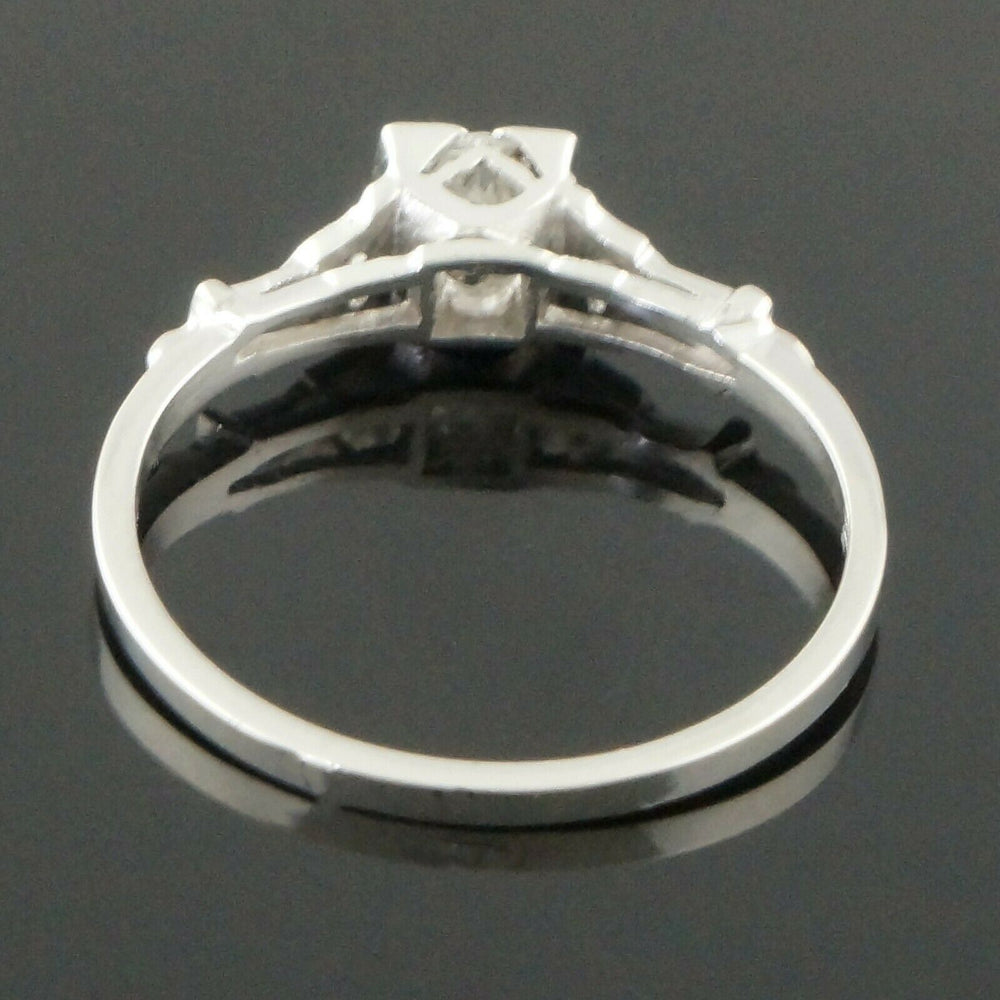 Platinum & .32 CTW Old European Cut Diamond Engagement Ring, Wedding Band