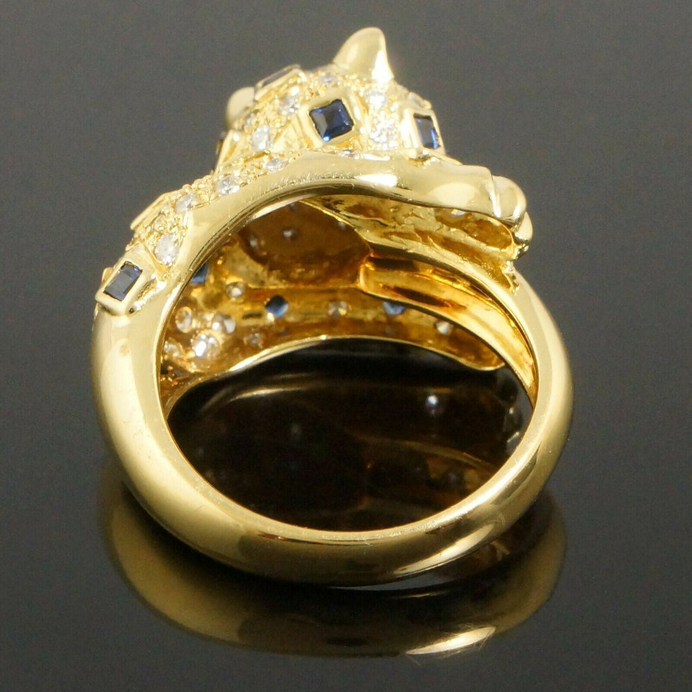 Heavy Custom Solid 18K Yellow Gold Diamond, Emerald & Sapphire Panther Ring