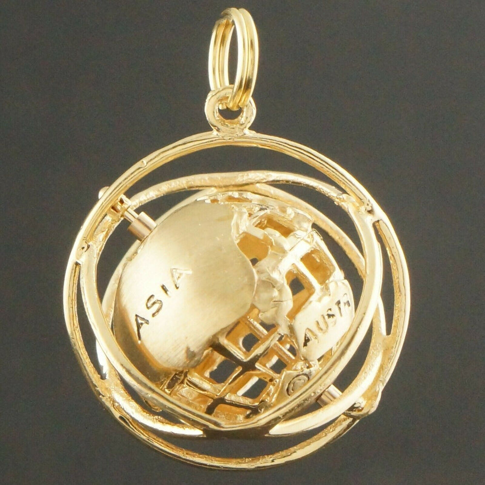 Solid 14K Gold 3D Articulating Spinning Earth Globe on Axis, Pendant, Charm