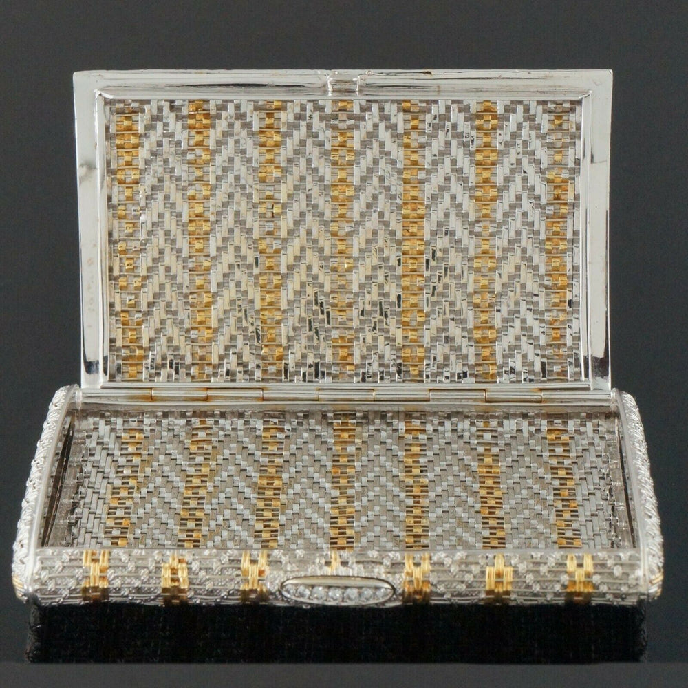 Rare Retro Two Tone Solid 18K Gold Weave & Link, & Diamond Accented Estate Cigarette Case