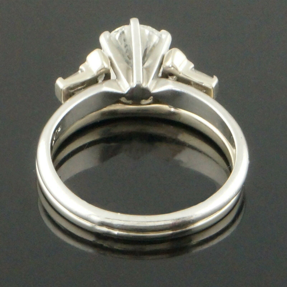 Vintage Platinum 1.00 Ct Center, 1.22 CTW Diamond Estate Wedding Engagement Ring