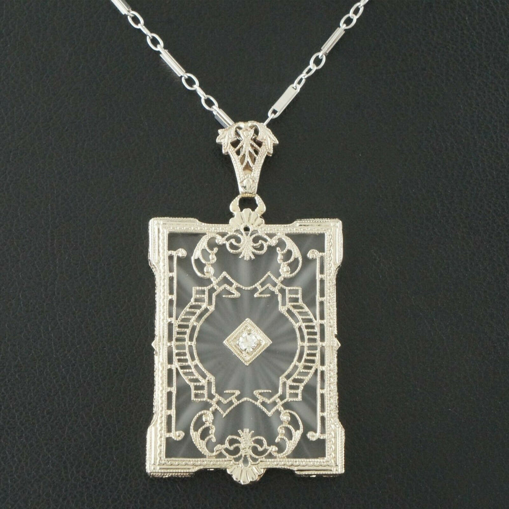 1920's Art Deco, Solid 14K Gold & Diamond, Frosted Crystal Pendant, Necklace