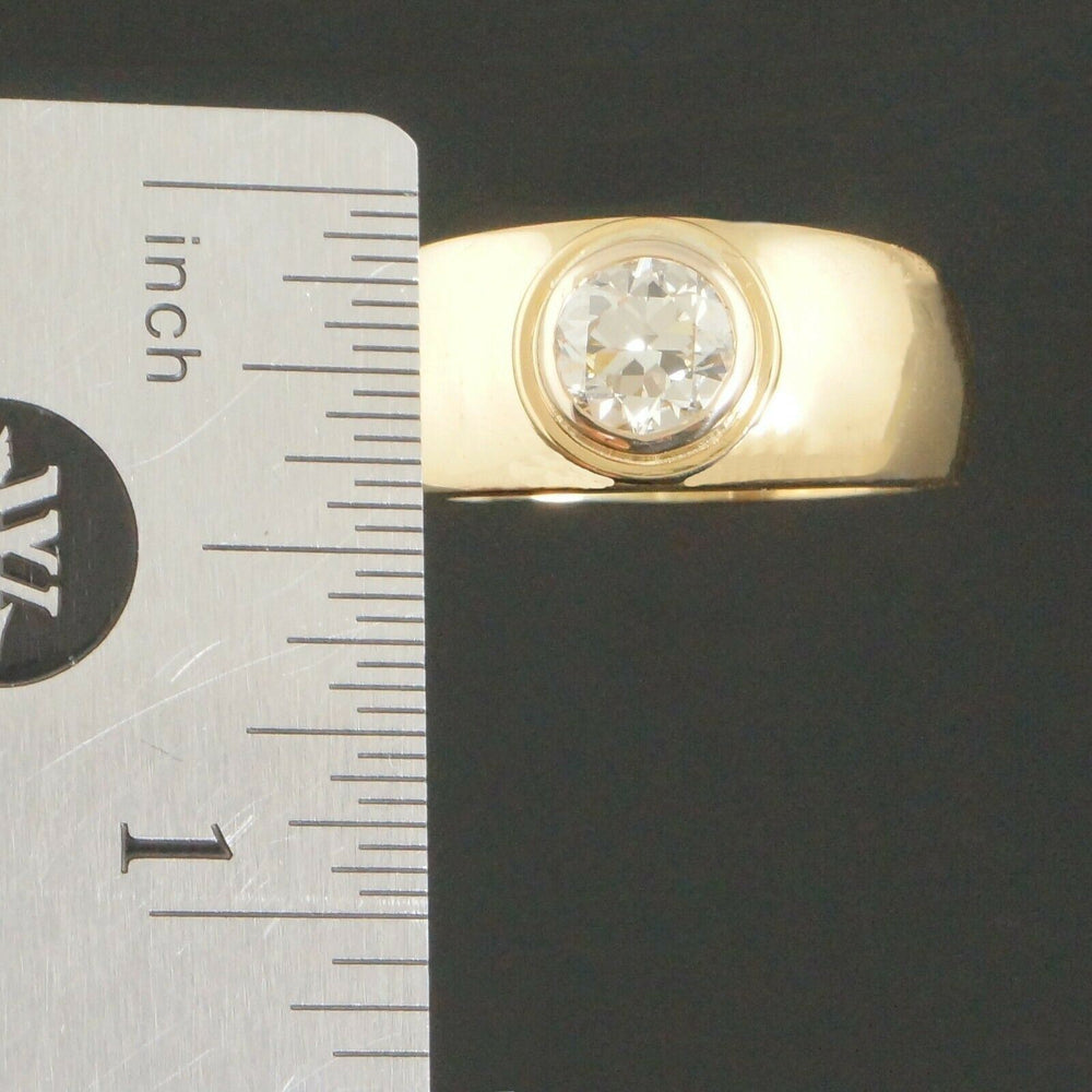 Heavy Solid 18K Gold & 1.10 Ct Transitional Cut Diamond Engagement, Wedding Ring