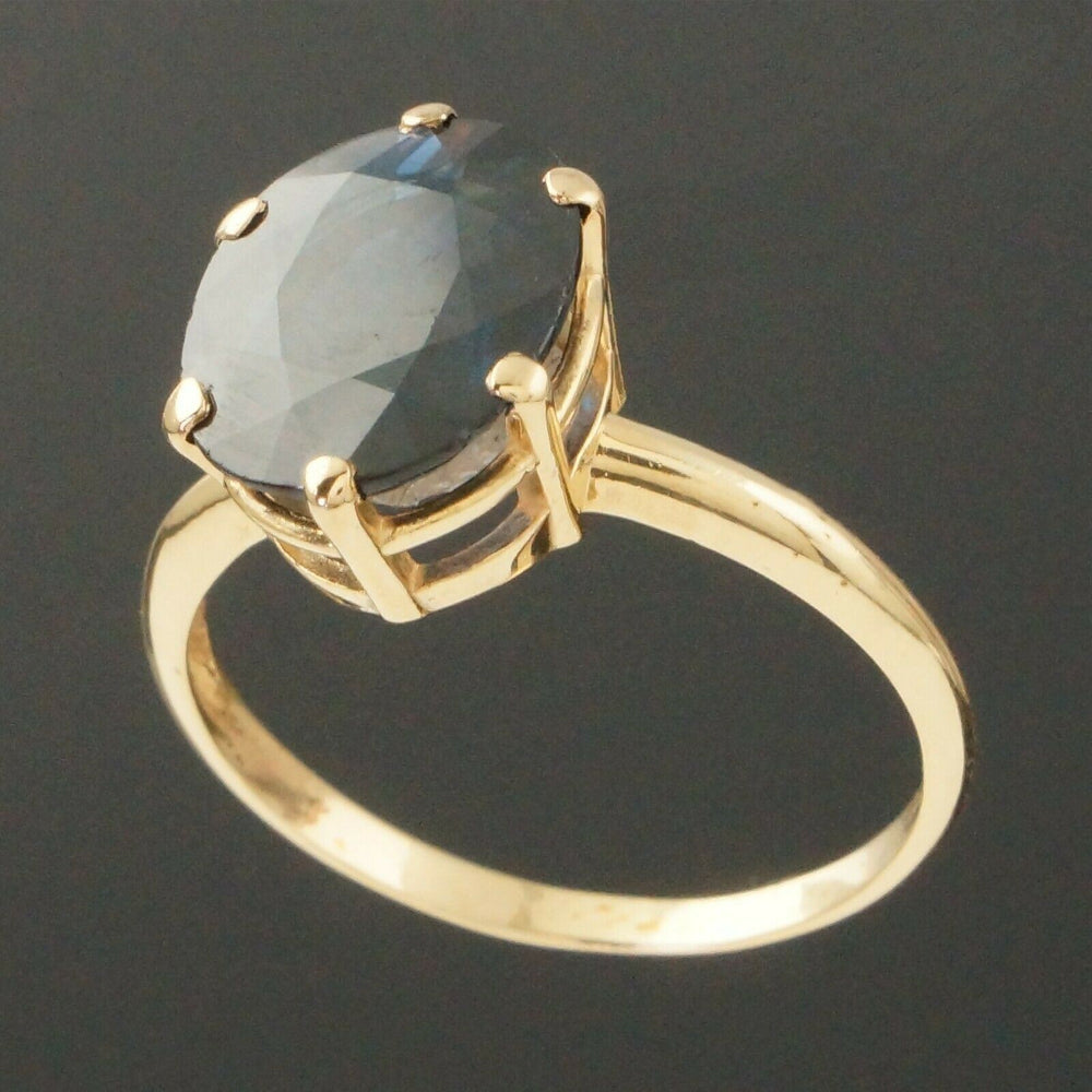 Solid 14K Yellow Gold, 5.0 Carat Natural Blue Sapphire Lady's Estate Ring
