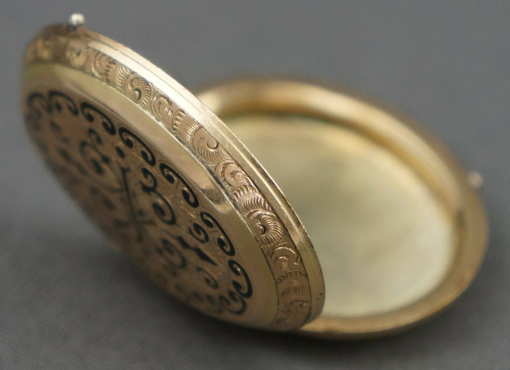 Victorian, Solid Yellow Gold & Black Enamel Engraved Mourning Locket Pendant