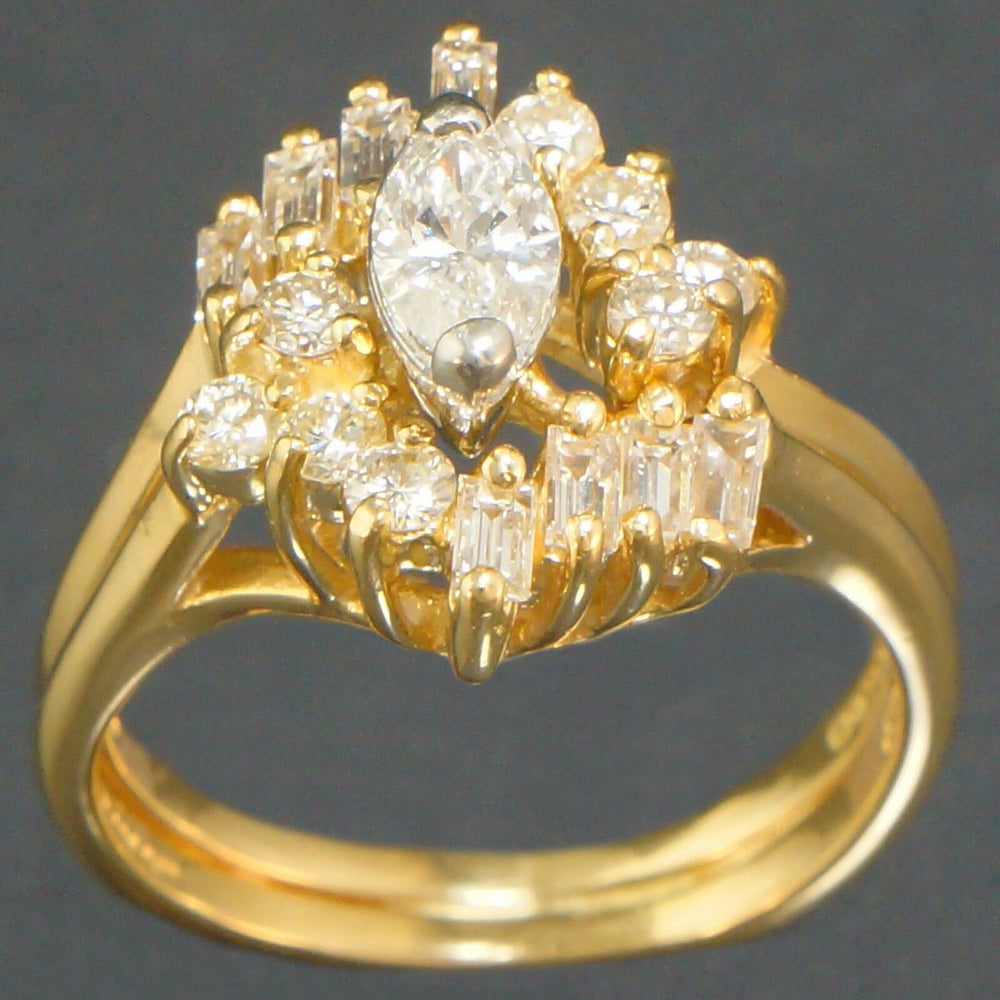 18K Gold, Marquise & Baguette Diamond Engagement Ring, Wedding Band Set 1.0 CTTW