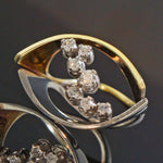 Modernist Solid 14K Yellow Gold, Platinum & Diamond Two Tone Estate Ring