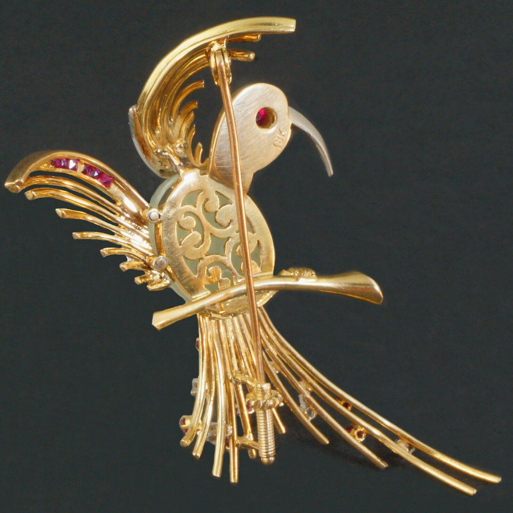 Dazzling, Solid 18K Yellow Gold & Jade, Ruby, Diamond Bird Pin, Estate Brooch