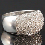 Fabulous, Solid 14K White Gold & 2.33 CTW Diamond, Cigar Band Estate Dome Ring