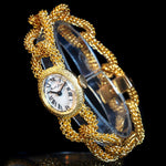 Stunning Bueche Girod Lady's Solid 18K Yellow Gold Etruscan Curb Bracelet Watch