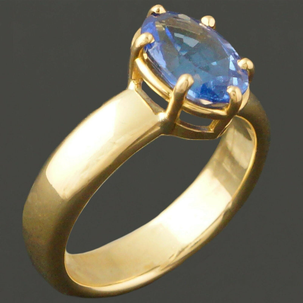 Stunning Tiffany & Co. Solid 18K Yellow Gold & 3 Carat Tanzanite Estate Ring