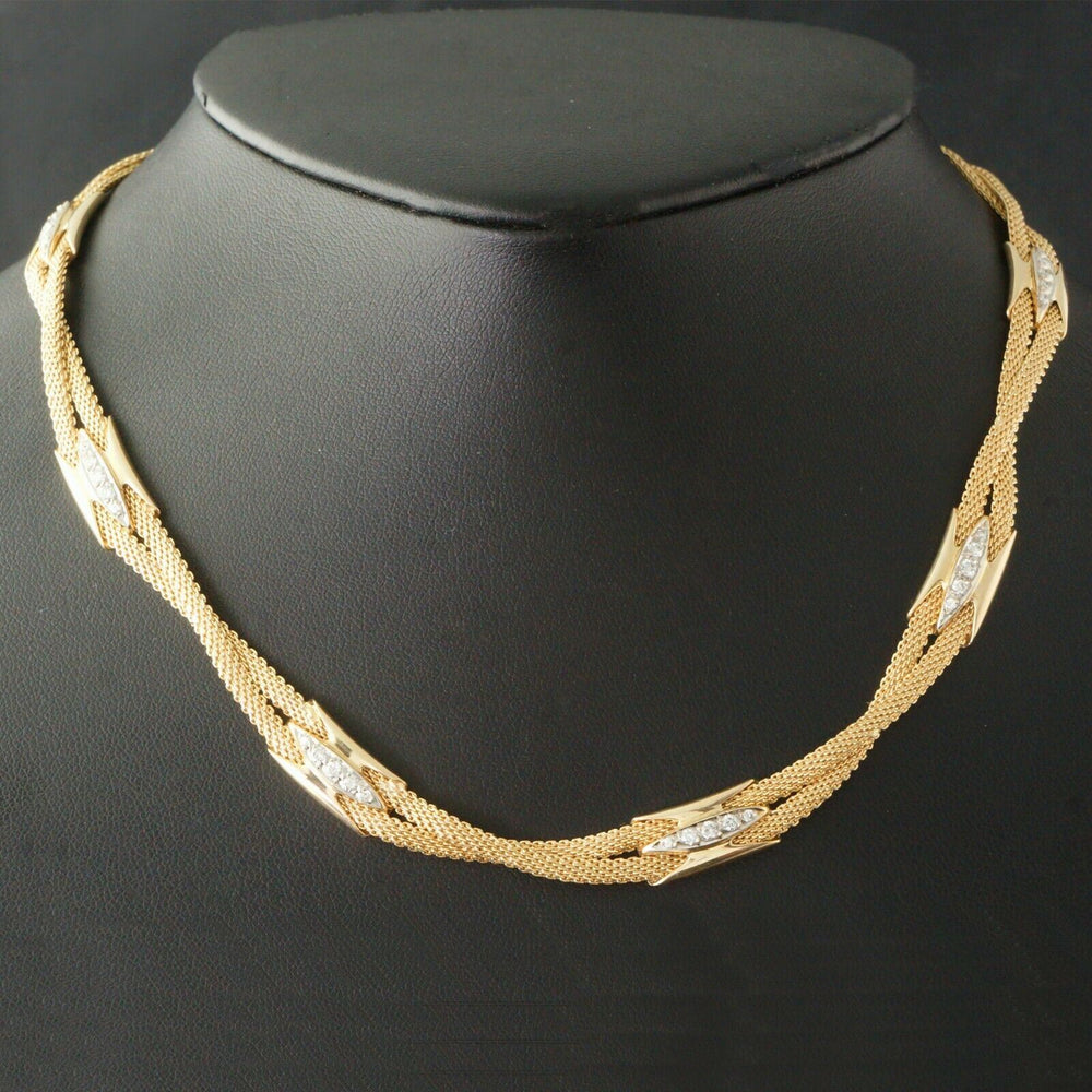 Heavy Solid 14K Yellow Gold 1.35 CTW Diamond Double Wheat Chain Necklace